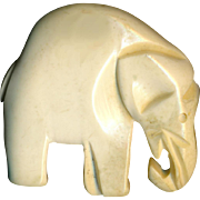 Button--Large Vintage 1940s Ivory-hued French Galalith Elephant