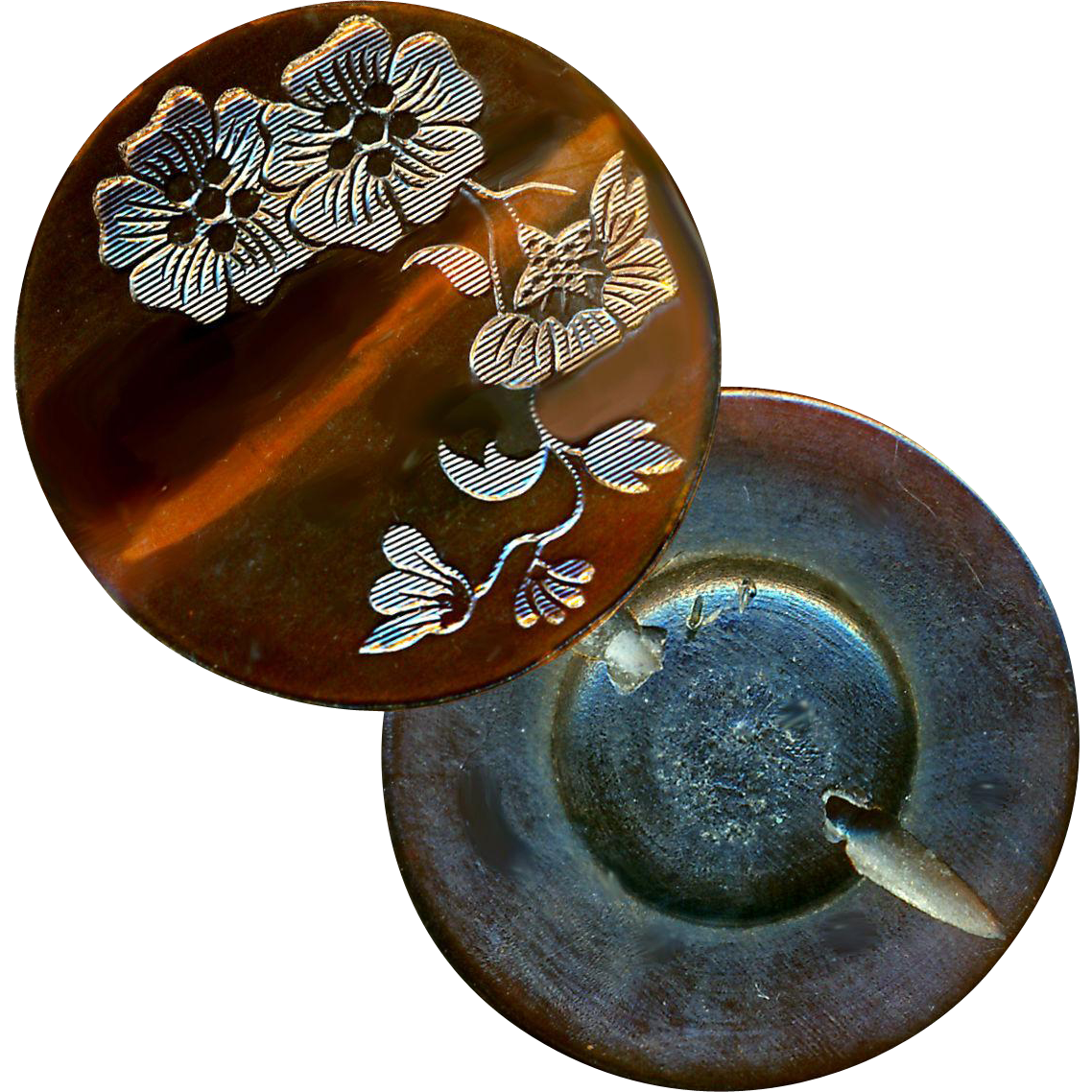 Button--Late 19th C. Large Impressed Horn Floral Foliate
