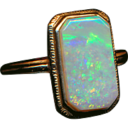 Ring--Large Vintage Rectangular Opal in 14 Karat Gold--Crystal Opal Open Back