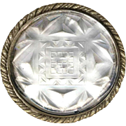 Button--Early 20th C. Very Large Art Deco Design Satin & Polished Crystal in Twist-rope Edge White Metal