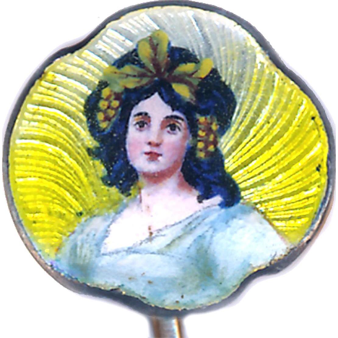 Stick Pin--Early 20th C. Art Nouveau Enamel Lady on Low Karat Gold Pin