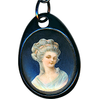 """Pendant--Mid-19th C. Natural Jet with Porcelain Inset on 30"""" Modern Plastic Chain"""