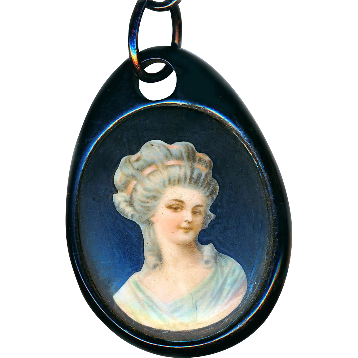 "Pendant--Mid-19th C. Natural Jet with Porcelain Inset on 30"" Modern Plastic Chain"