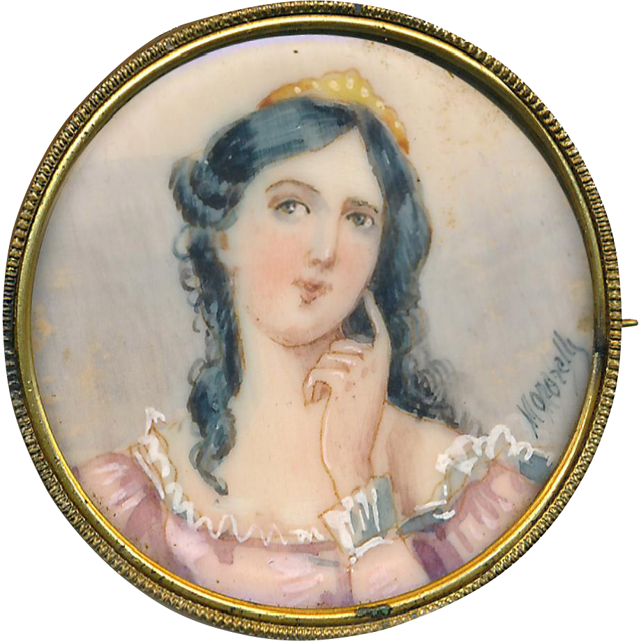 Brooch--Hand Painted 19th C. Woman Under Glass in Brass
