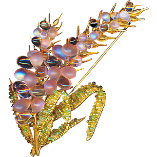 Brooch--Massive Miriam Haskell Opalescent Pink Glass & Seed Bead Wheat Sheaf