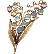 Brooch--Large Vintage Trifari Luminous Glass Lilies of the Valley in Gold Metal