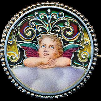 Brooch--Small Art Nouveau Austrian Plique a Jour Enamel Cherub on Silver