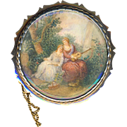 Brooch--Large Georgian Painting Under Glass of Two Woman and Dog
