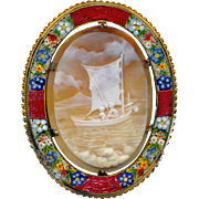 Brooch/Pendant--Large Late 19th C. Shell Cameo Boys in Sailboat with Micromosaic Border
