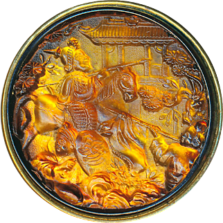 Button--Scarce Late 19th C. Extra Large Amber Glass Genghis Khan and Retinue in Brass