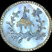Button--18th C. Georgian Engraved Iridescent White Pearl Garden Gazebo As Is