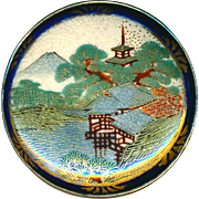 Button--Large 19th C. Satsuma Japanese Tea House by Water in Cobalt in Silver