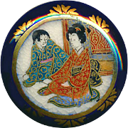 Button--Very Fine Imari Colors Late 19th C. Satsuma Mother & Son