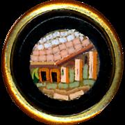 Button--Mid-19th C. Micromosaic Roman Ruin in Black Glass Waistcoat