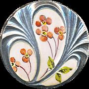 Button--Fine Early 20th C. Art Nouveau Sculptured Sterling Silver & Enamel Pink Flowers