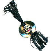 Button--Unusual Silver Clown Face with Long Silk Tassels--Oddly Appealing
