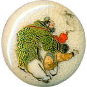 Button--Scarce Very Fine Late 19th C. Satsuma Djinn & Boy Release Horse from Lamp