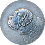 Button--Very Large Hugenin Pewter St. Bernard Dog or Close Cousin