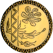 Button--Large Early 20th C. Incised Art Nouveau Floral Trellis Design Ivoroid-celluloid in Brass