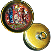 Button--Very Uncommon Secret Fraternity Symbols Under Glass in Brass Waistcoat