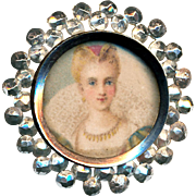 Button--Red Haired Queen Litho Under Glass in Briilliant Cut Steels Medium Size