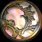 Button--Late 19th C. Vivid Iridescent Pearl Nacre Under Rococo Openwork Brass
