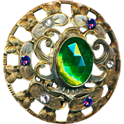 Button--Large Late 19th C. Glass Jeweled Open-work Brass Suffragette Colors