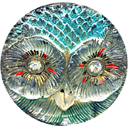 Button or Trim ~ Very Rare Early 20th C. Large Pressed Crystal Lacy Glass Owl in Original Paint