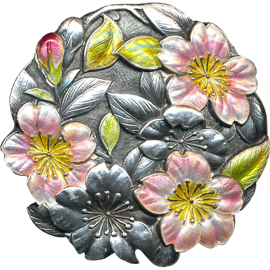 Button ~ Very Large Well-marked Late 19th C. Japanese Silver Enamel and Pink Translucent Plumeria Blossoms