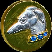 Button--Unique Vintage 18 Karat Gold, Platinum, and Sapphire Greyhound--Medium Size