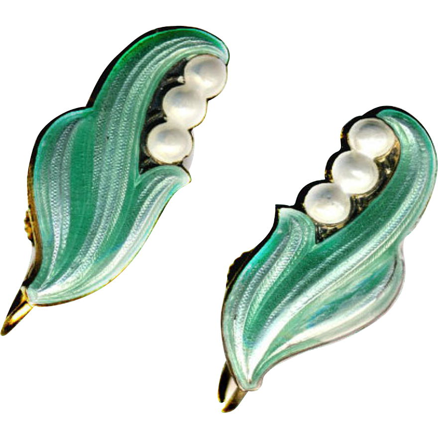 Earrings vintage 20th c lily of the valley enamel on for Fashion valley jewelry stores