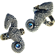 Ring ~ Modern Microgranulation Sterling Silver & Blue Topas Sea Horse ~ Adjustable