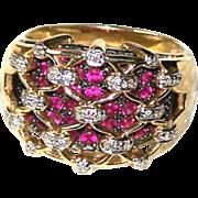 Ring ~ Vintage Wide 14 Karat Gold Diamond Lattice Over Sparkly Rubies ~ Size 10
