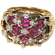 Ring ~ Vintage Wide 14 Karat Gold Diamond Lattice Over Sparkly Rubies ~ Size 10