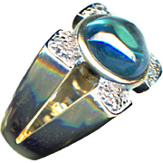 Ring ~ Rich Teal Topaz Cabachon in 10 Karat Gold and Diamonds
