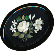 Brooch--Fine Large Mid-19th C. Pietra Dura Floral in Whitby Jet