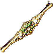 Brooch--Elegant Edwardian Era 14 Karat Gold,Enamel, and Pearl Bar Pin