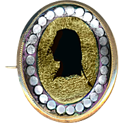 Brooch--Late-18th C. Georgian Silhouette on Foil Under Glass in Gold-plated Silver--As Is