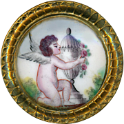 Button--Large 18th C. Georgian Bilston Enamel Putto and Urn in Dore Brass