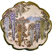 Button--Huge Late 19th C. Satsuma 10-lobe Lotus Wisteria and Mt. Fujiyama in Silver