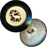 Button--Mid-19th C. Ajoure Carved Staghorn in Black Japanned Brass Medium
