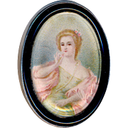 Button--Late 19th C. Large Oval Lithograph Lady Under Glass in Glass & Sterling Silver