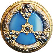 Button--Large Late 19th C. Silk Blue Glass in Regency Motif Brass & Cut Steels