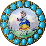 Button--Small Emaux Peints Enamel Garden Girl in Turquoise Pierreries