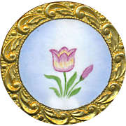 Button--Medium Size 19th C. Hand Painted Enamel Pink-yellow Tulip on Brass
