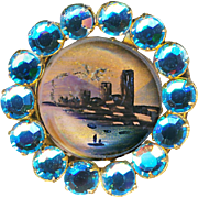 Button--19th C. Reverse Painted Glass Scene in Replaced Rhinestones