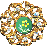 Button--Late 19th C. Enamel Posy Medallion in Jeweled Open-work Brass