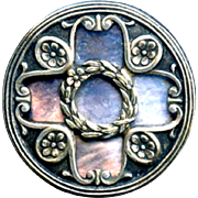 Button ~ Large Silver Over Iridescent Pearl Arts & Crafts Open Quatrefoil Design