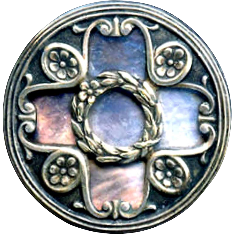 Button large silver over iridescent pearl arts crafts for Pearl arts and crafts closing