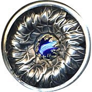 Button ~ Very Large Silver-plated Brass with Water-blue Glass Jewel